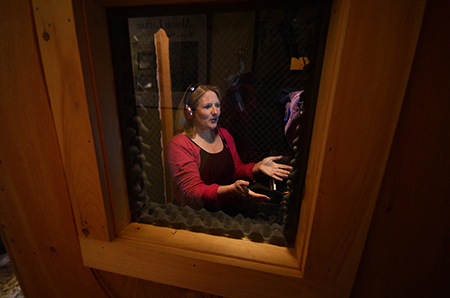 Alison Larkin recording an audiobook